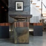 Modern wood stools in minimalist home