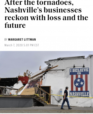 The Basement East suffered tornado damage in March 2020