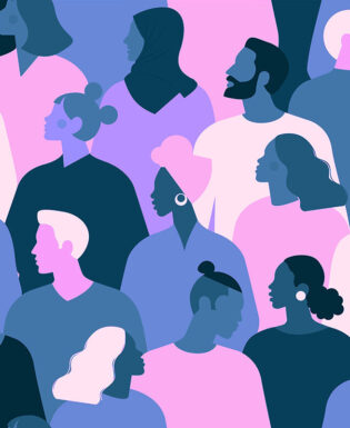 Pink, blue and purple crowd illustration