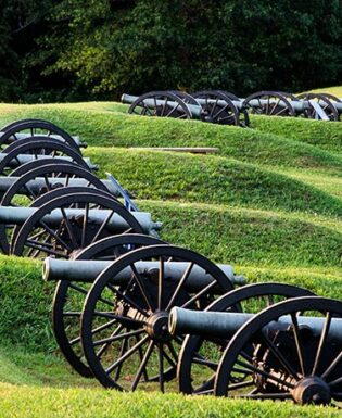 Cannons against green hills